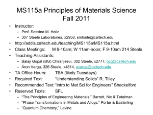 MS115a Principles of Materials Science Fall 2011