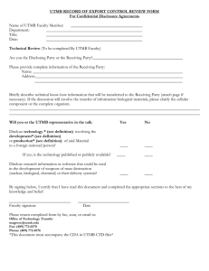 UTMB RECORD OF EXPORT CONTROL REVIEW FORM For Confidential Disclosure Agreements