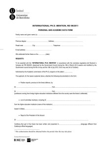 INTERNATIONAL PH.D. MENTION, RD 99/2011 PERSONAL AND ACADEMIC DATA FORM