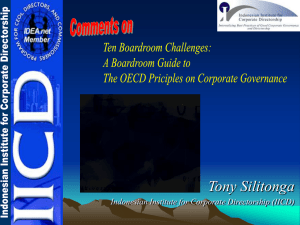 Tony Silitonga Indonesian Institute for Corporate Directorship (IICD)