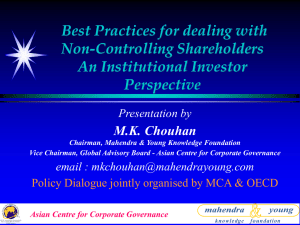 Best Practices for dealing with Non-Controlling Shareholders An Institutional Investor Perspective