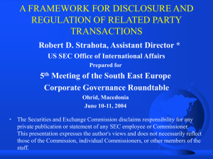 A FRAMEWORK FOR DISCLOSURE AND REGULATION OF RELATED PARTY TRANSACTIONS