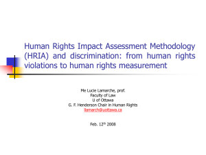 Human Rights Impact Assessment Methodology (HRIA) and discrimination: from human rights
