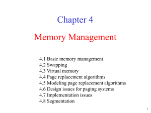Memory Management Chapter 4