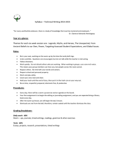 Syllabus – Technical Writing 2014-2015