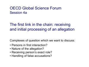 OECD Global Science Forum The first link in the chain: receiving