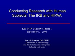 Conducting Research with Human Subjects: The IRB and HIPAA September 13, 2004