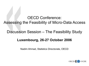 OECD Conference: Assessing the Feasibility of Micro-Data Access – The Feasibility Study