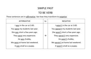 SIMPLE PAST TO BE VERB