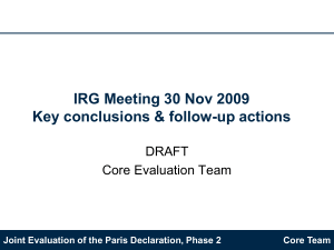 IRG Meeting 30 Nov 2009 Key conclusions & follow-up actions DRAFT