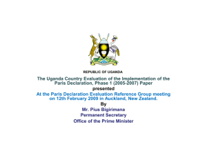 The Uganda Country Evaluation of the Implementation of the