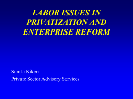 LABOR ISSUES IN PRIVATIZATION AND ENTERPRISE REFORM Sunita Kikeri