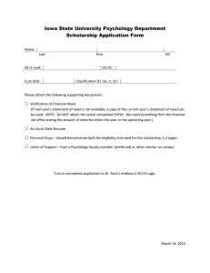 Iowa State University Psychology Department Scholarship Application Form