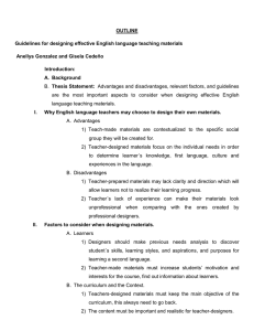 OUTLINE Guidelines for designing effective English language teaching materials