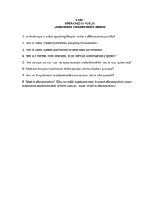 TOPIC 1 SPEAKING IN PUBLIC Questions to consider before reading