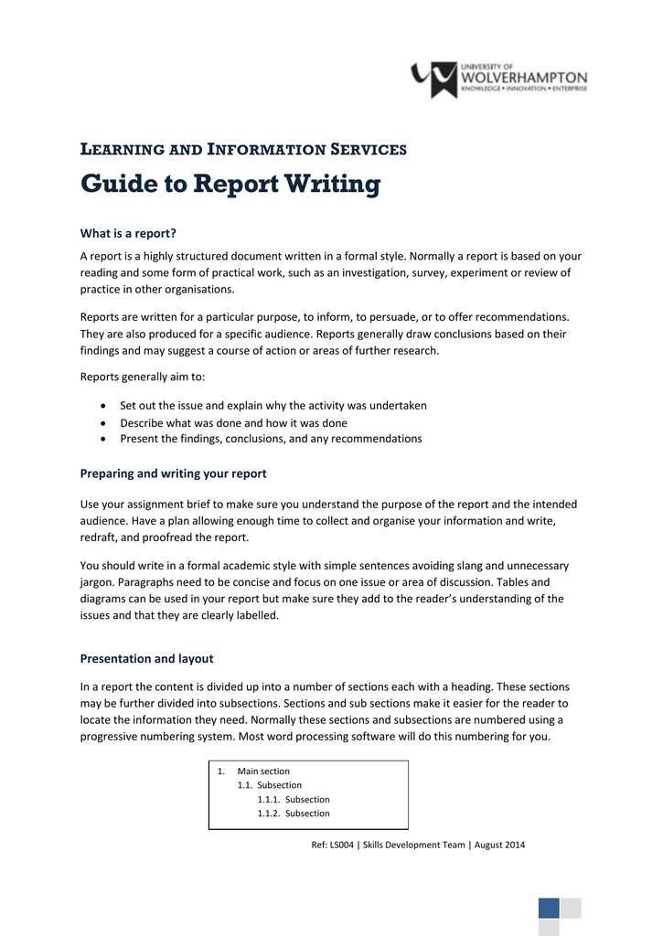 guide to report writing l i s