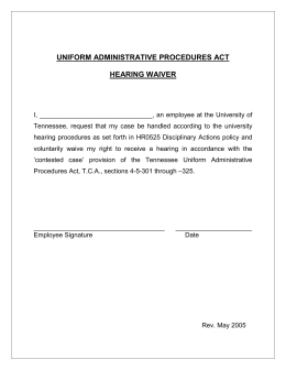 UNIFORM ADMINISTRATIVE PROCEDURES ACT  HEARING WAIVER