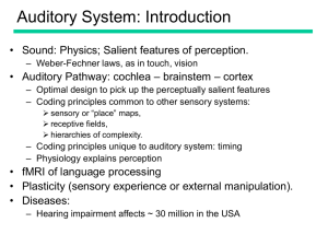 Auditory System: Introduction • Sound: Physics; Salient features of perception.