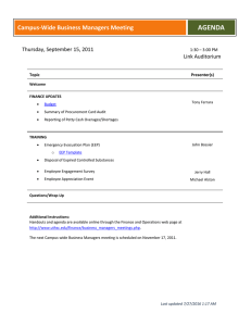 AGENDA Campus-Wide Business Managers Meeting  Thursday, September 15, 2011