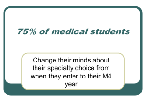 75% of medical students Change their minds about their specialty choice from