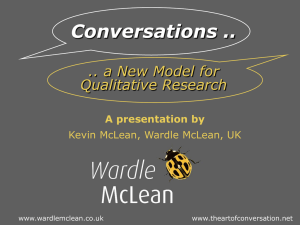Conversations .. .. a New Model for Qualitative Research A presentation by