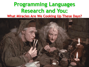Programming Languages Research and You: #1