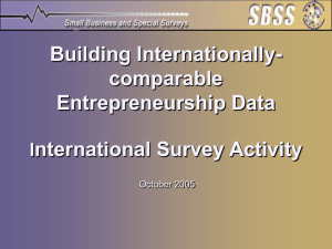 Building Internationally- comparable Entrepreneurship Data nternational Survey Activity