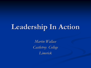 Leadership In Action Martin Wallace Castletroy  College Limerick