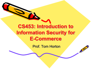 CS453: Introduction to Information Security for E-Commerce Prof. Tom Horton