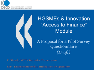 "HGSMEs & Innovation ""Access to Finance"" Module A Proposal for a Pilot Survey"