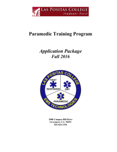 Paramedic Training Program Application Package Fall 2016