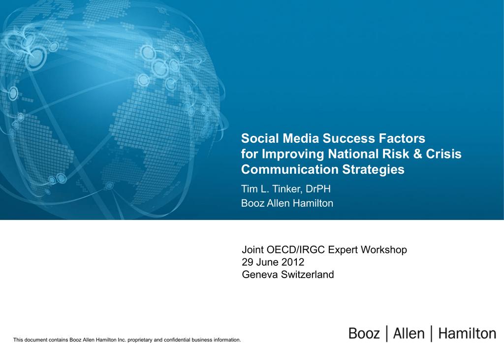 Social Media Success Factors for Improving National Risk & Crisis