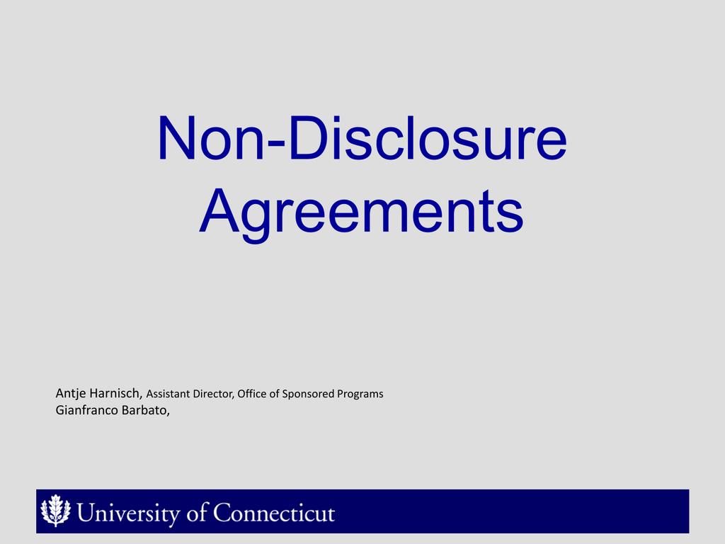 Non Disclosure Agreements Antje Harnisch Gianfranco Barbato