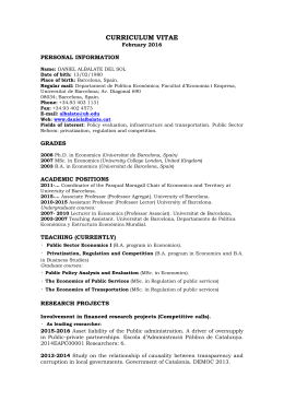 CURRICULUM VITAE PERSONAL INFORMATION February 2016
