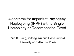 Algorithms for Imperfect Phylogeny Haplotyping (IPPH) with a Single