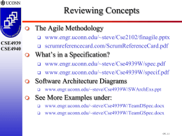 Reviewing Concepts The Agile Methodology What's in a Specification?