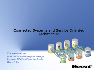 Connected Systems and Service Oriented Architecture Francesco Albano Enterprise Technical Evangelism Manager