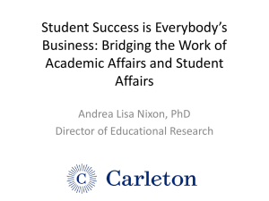 Student Success is Everybody's Business: Bridging the Work of Affairs