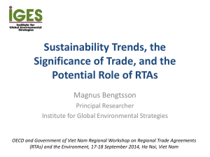 Sustainability Trends, the Significance of Trade, and the Potential Role of RTAs