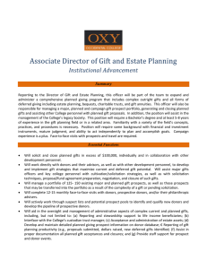 Associate Director of Gift and Estate Planning Institutional Advancement  Summary