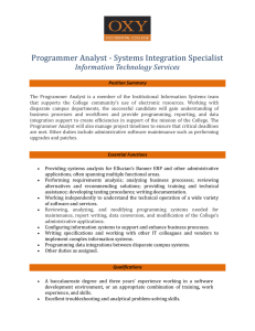 Programmer Analyst - Systems Integration Specialist Information Technology Services