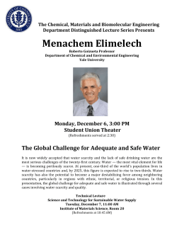 Menachem Elimelech  The Global Challenge for Adequate and Safe Water