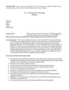 1133 - Introduction to Sociology  Syllabus