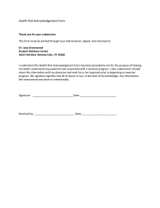 Health Risk Acknowledgement Form