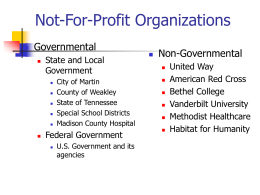 Not-For-Profit Organizations Governmental Non-Governmental