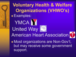 YMCA United Way Voluntary Health & Welfare Organizations (VHWO's)