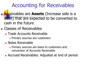 Accounting for Receivables Assets debit) that are expected to be converted to