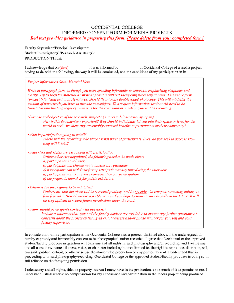 Occidental College Informed Consent Form For Media Projects