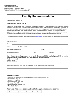 Faculty Recommendation 1600 Campus Road Los Angeles, CA 90041-3314