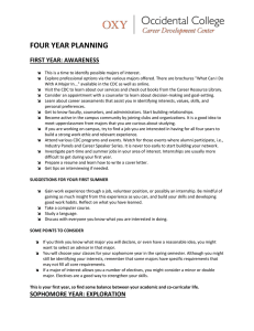 FOUR YEAR PLANNING FIRST YEAR: AWARENESS
